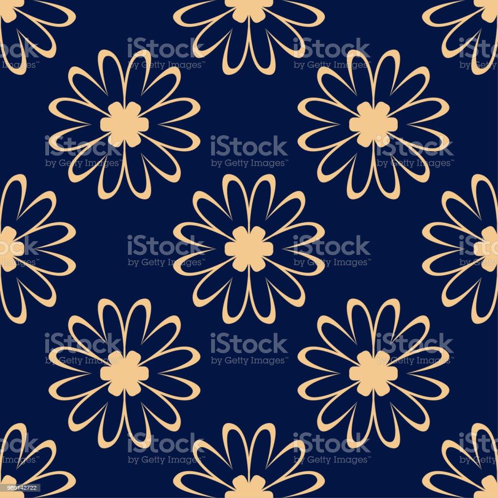 Golden flowers on blue background. Ornamental seamless pattern - Royalty-free Abstrato arte vetorial