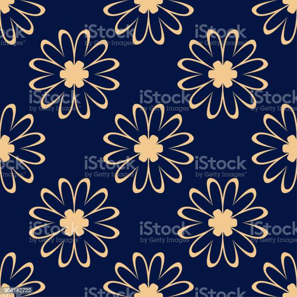 Golden Flowers On Blue Background Ornamental Seamless Pattern - Arte vetorial de stock e mais imagens de Abstrato