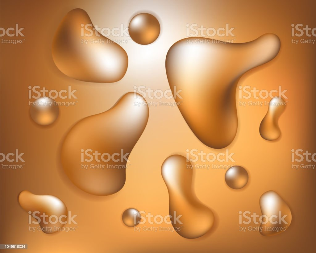 Golden fluid shapes on gradient background vector art illustration