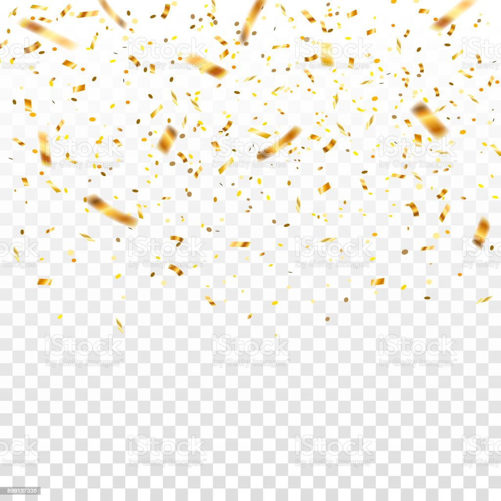 Golden Flying Blur Confetti On Transparent Background Template For