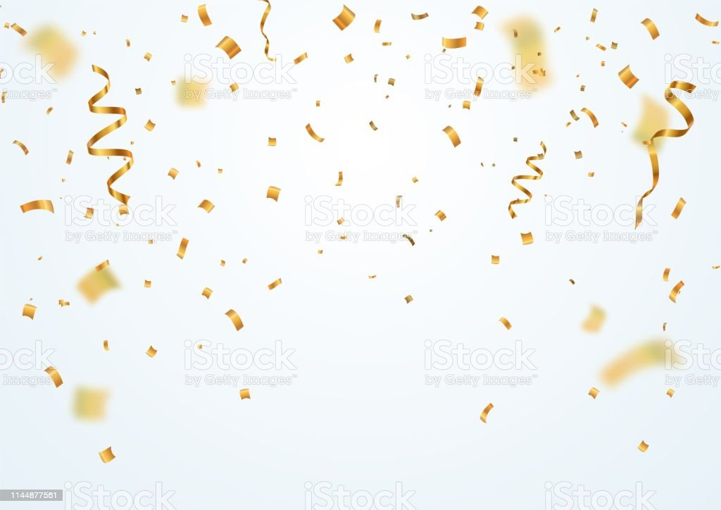 Golden flying blur confetti with motion effect on light white background Template for Holiday vector illustration. - Royalty-free Abstrato arte vetorial