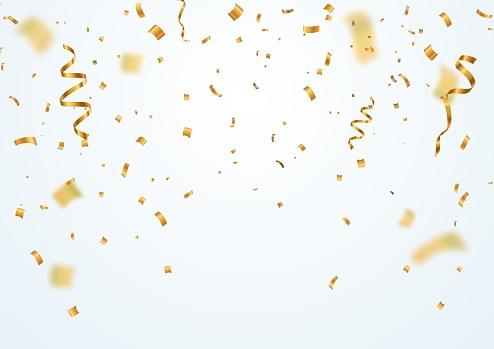 Golden Flying Blur Confetti With Motion Effect On Light White Background Template For Holiday Vector Illustration - Arte vetorial de stock e mais imagens de Abstrato