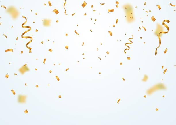 golden flying blur confetti with motion effect on light white background template for holiday vector illustration. - confetti stock illustrations