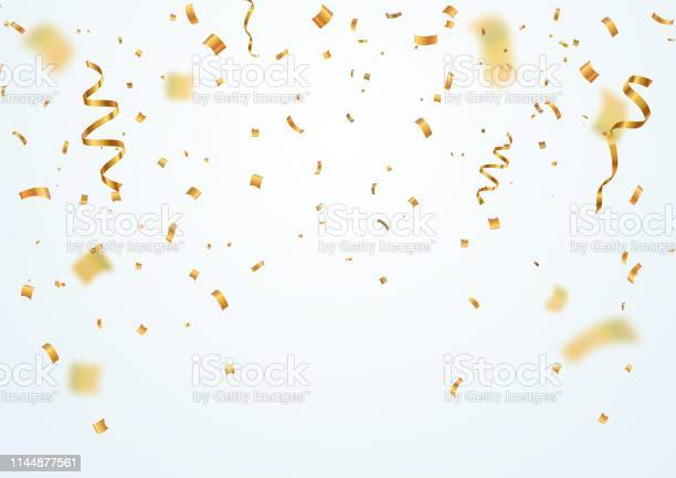Golden Flying Blur Confetti With Motion Effect On Light White Background Template For Holiday Vector Illustration Stock Illustration - Download Image Now