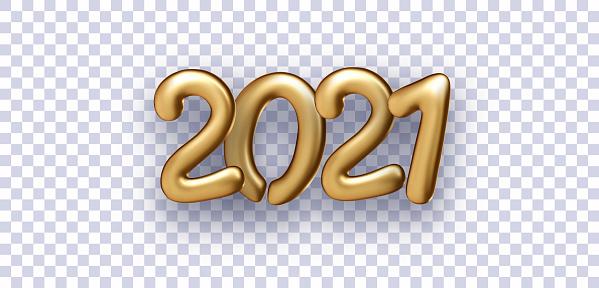 Golden foil 2021 balloon sign on transparent background.