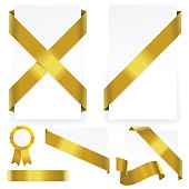 Silky yellow ribbon elements on transparent background