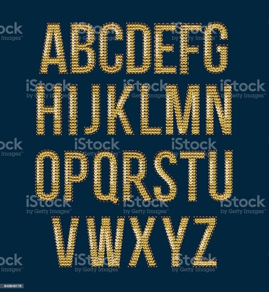 黄金のフォント刺繍スパンコール プリント用ラベルを作成するには - アルファベットのロイヤリティフリーベクトルアート