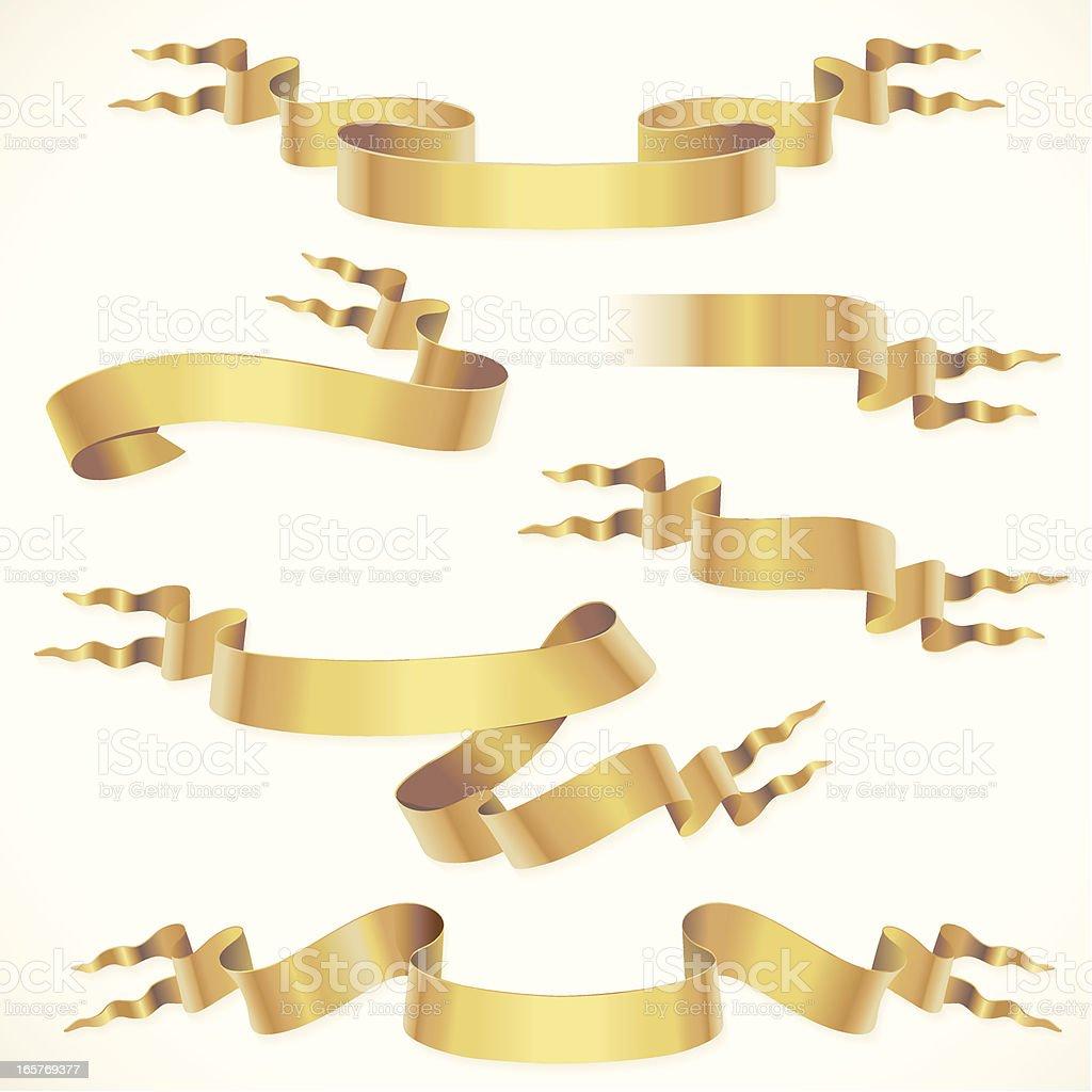 Golden fork tail ribbons vector art illustration