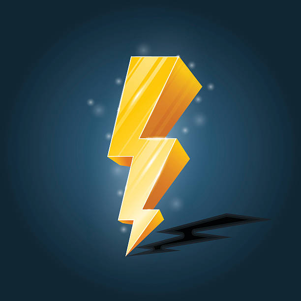 Golden, forked lightning icon with sparkles Golden, forked lightning icon with sparkles forked lightning stock illustrations