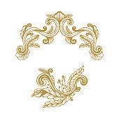 Golden Frame. Hand Drawn Vintage damask ornamental elements for design. Baroque frame scroll ornament. Elegant abstract floral pattern border in antique style. Decorative foliage swirl edging.