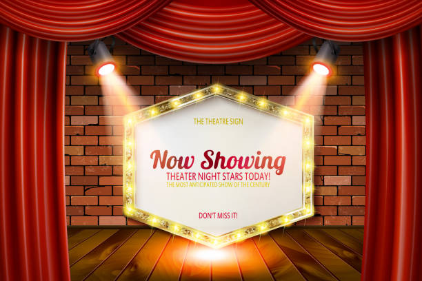 Golden frame in cinematic style Golden frame in cinematic style on brick wall and red curtain background with spotlights. Vector illustration Fame stock illustrations