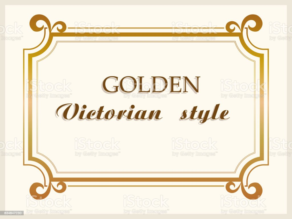 Golden frame luxury Victorian style, floral border decoration. Vector vector art illustration