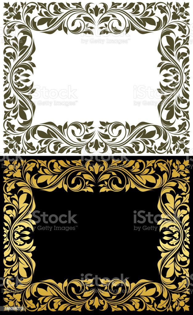 Golden frame with decorative floral elements vector art illustration