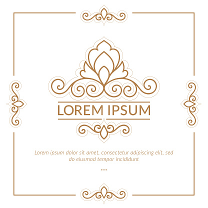 Golden frame with decorative vector ornament. Elegant, classic elements. Can be used for jewelry, beauty and fashion industry. Great for logo, emblem, background or any desired idea.