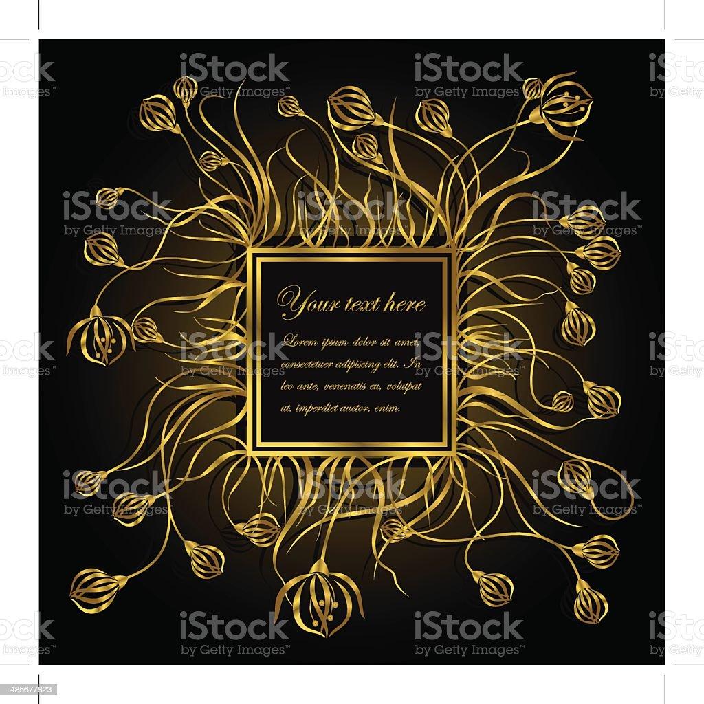 Goldener Rahmen Mit Blumen Stock Vektor Art und mehr Bilder von Am ...