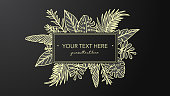 Golden placard for your text with hand drawn leaf illustrations. All elements are on different layers.