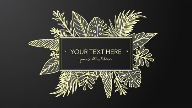 Cadre d'or avec des illustrations dessinées à la main de feuille - Illustration vectorielle