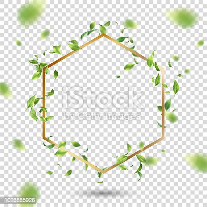 Abstract golden frame with flying leaves. Vector background with blurred transparent elements