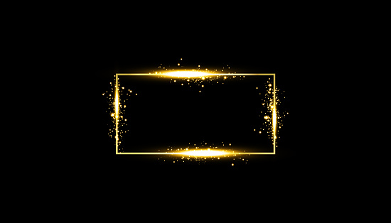 Golden frame with lights effects. Shining rectangle banner. Isolated on black background. Vector illustration