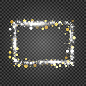 Golden frame with lights effects. Shining rectangle banner on checkered background. Vector illustration