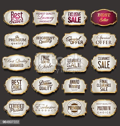 golden frames and labels collection