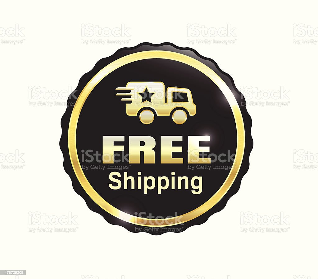 Golden Free Shipping Badge royalty-free golden free shipping badge stock vector art & more images of badge