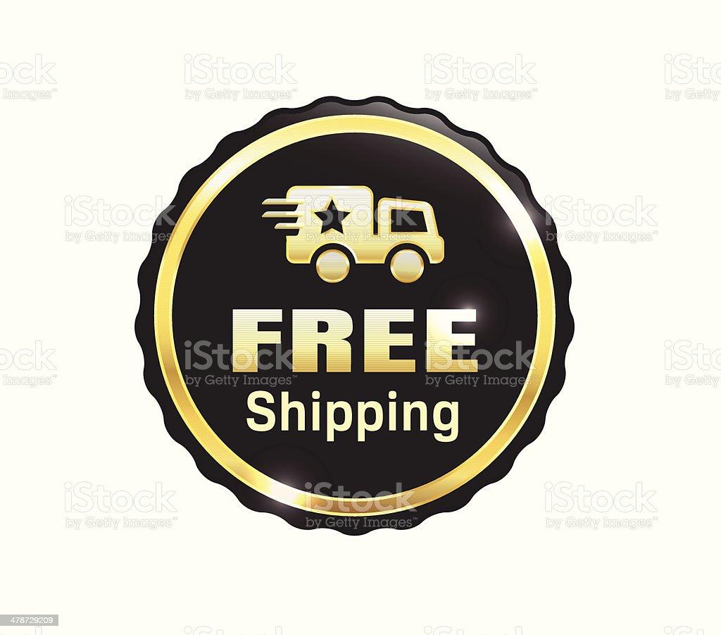 Golden Free Shipping Badge vector art illustration