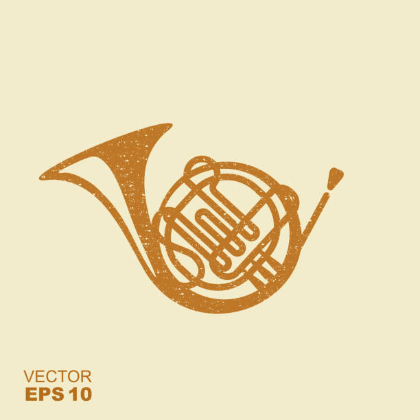 golden french horn icon. flat vector icon with scuffed effect in a separate layer - waltornista stock illustrations