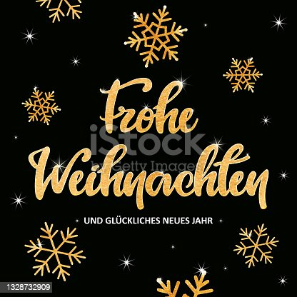 """istock Golden """"Frohe Weihnachten"""" lettering with snowflakes 1328732909"""