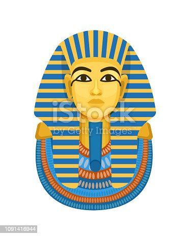 Golden funerary mask, bust of the pharaoh of ancient Egypt, Tutankhamen. International historical landmark, an ancient Egyptian artifact. Vector illustration isolated.