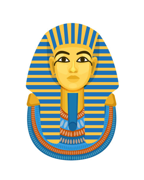 Golden funerary mask, bust of pharaoh of ancient Egypt, Tutankhamen. Golden funerary mask, bust of the pharaoh of ancient Egypt, Tutankhamen. International historical landmark, an ancient Egyptian artifact. Vector illustration isolated. ancient egyptian culture stock illustrations