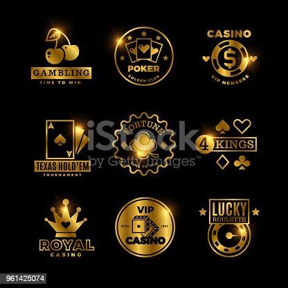 Golden gambling, casino, poker royal tournament, roulette vector labels, emblems, logos and badges. Win game poker card, emblem lucky gambling illustration
