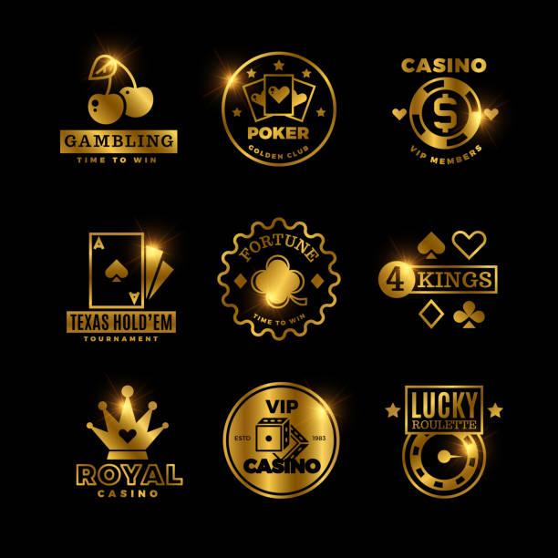 Golden gambling, casino, poker royal tournament, roulette vector labels, emblems, logos and badges Golden gambling, casino, poker royal tournament, roulette vector labels, emblems, logos and badges. Win game poker card, emblem lucky gambling illustration poker stock illustrations