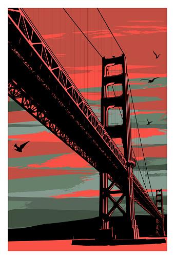 Golden Gate Bridge at sunset, San Francisco, USA