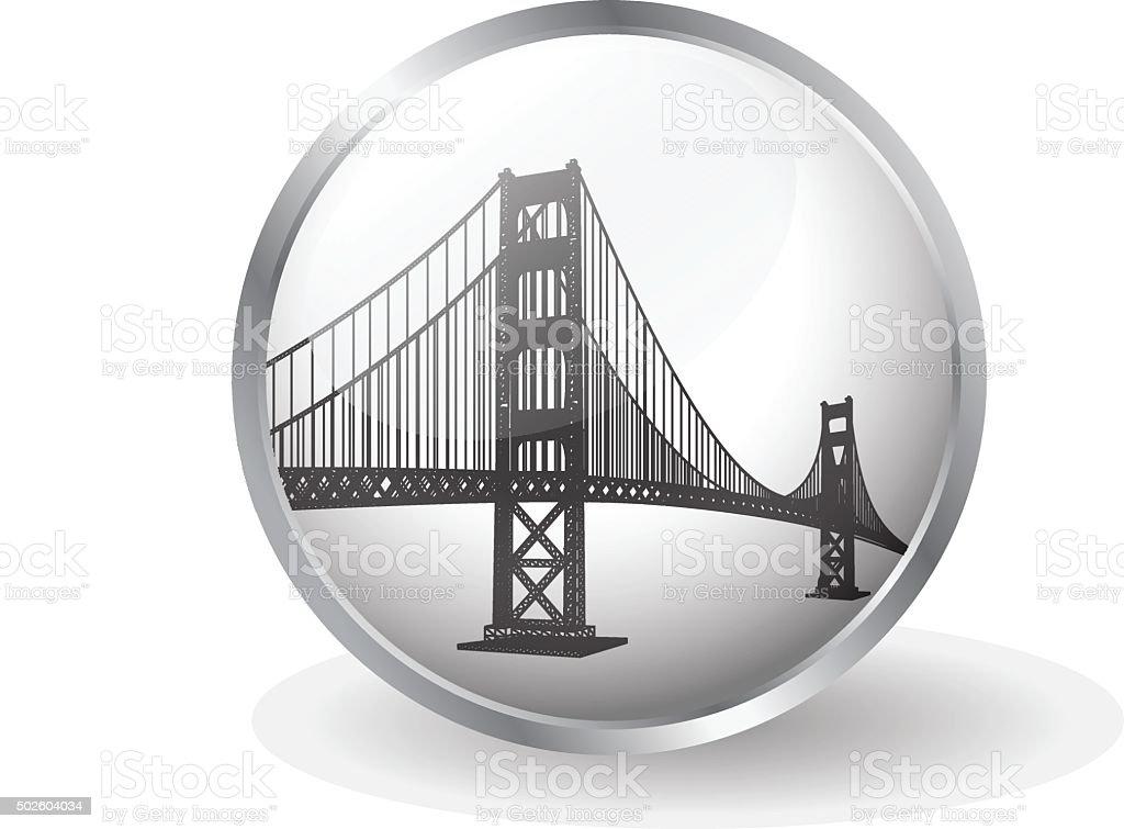 Golden Gate bridge button vector vector art illustration