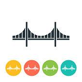 Golden Gate Bridge flat icon - color illustration