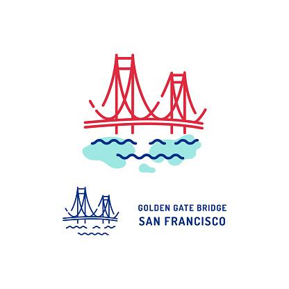 Golden Gate Bridge icon. San Francisco Bridge thin line art colorful icons. Travel icon. Vector flat illustration