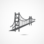 Golden Gate Bridge Icon on white background