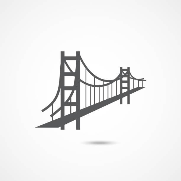 golden gate bridge icon - bridge stock illustrations