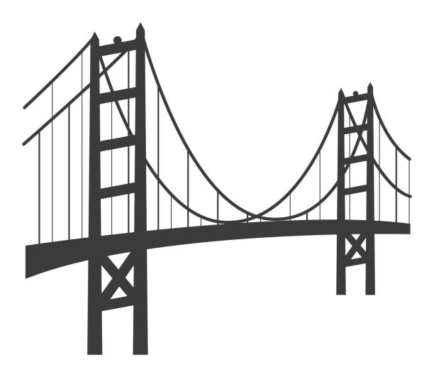 golden gate bridge icon - architecture clipart stock illustrations