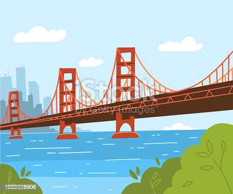 Golden Gate Bridge illustration. Flat vector style design. Day cityscape background with city silhouette. Symbol of America and Urbanism.