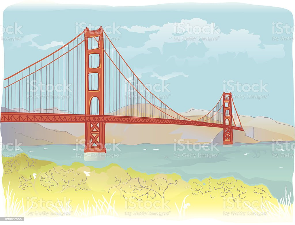 Golden Gate Bridge illustration royalty-free stock vector art