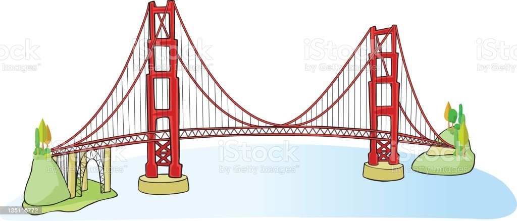 Golden Gate Bridge in San Francisco royalty-free stock vector art