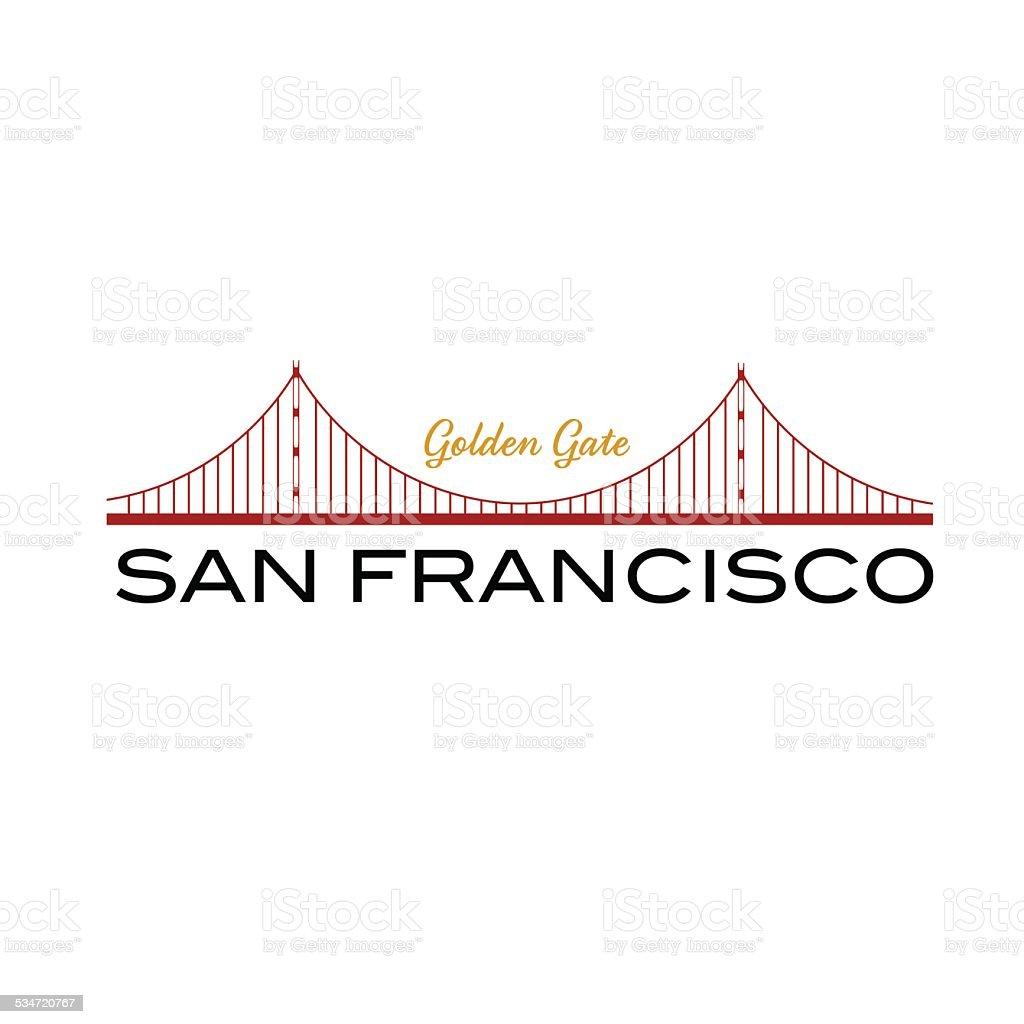 Golden Gate bridge of San Francisco vector art illustration