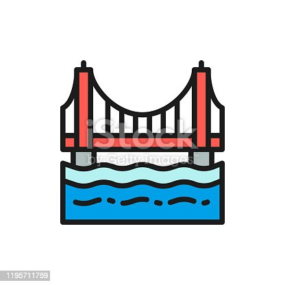 istock Golden Gate Bridge, San Francisco, USA flat color line icon. 1195711759
