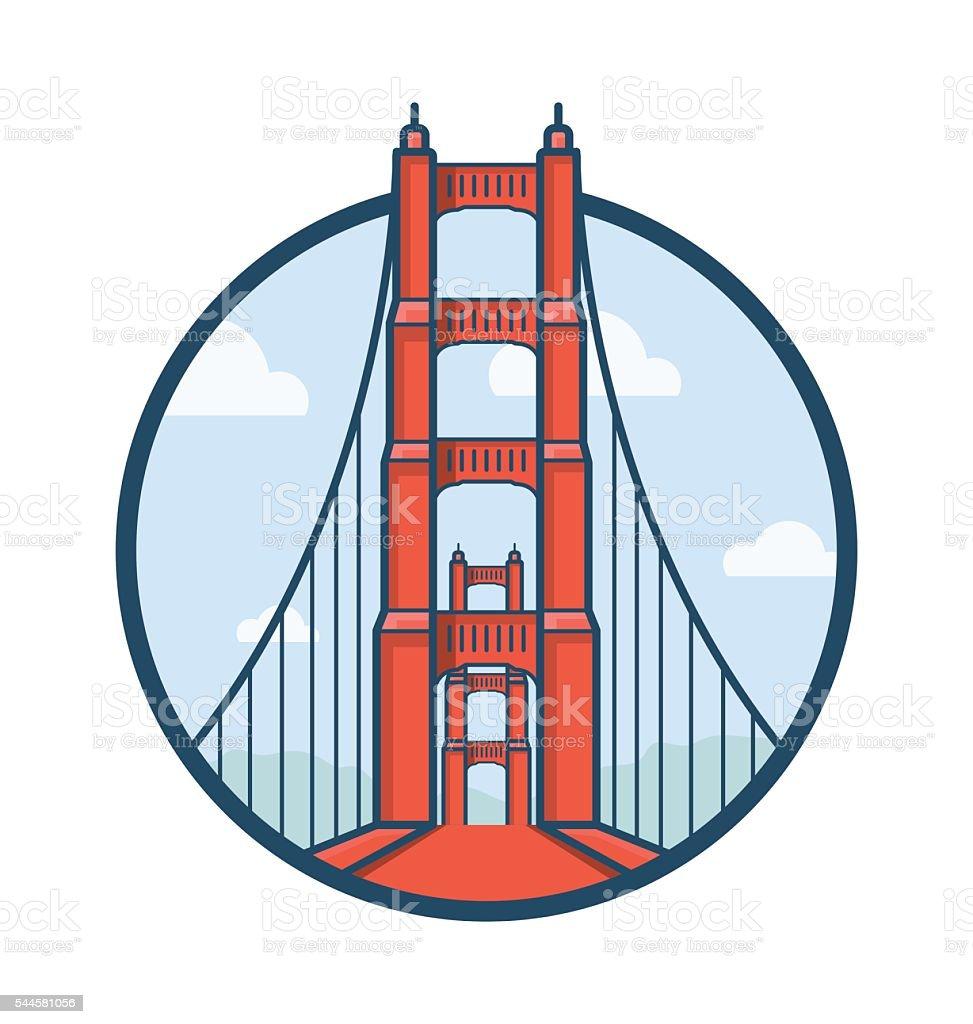 Golden Gate Bridge Vector Icon vector art illustration