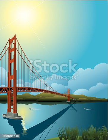 The Golden Gate Bridge in San Francisco, CA.  Plenty of space for text/headline.