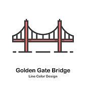Golden Gate Bridge line color icon
