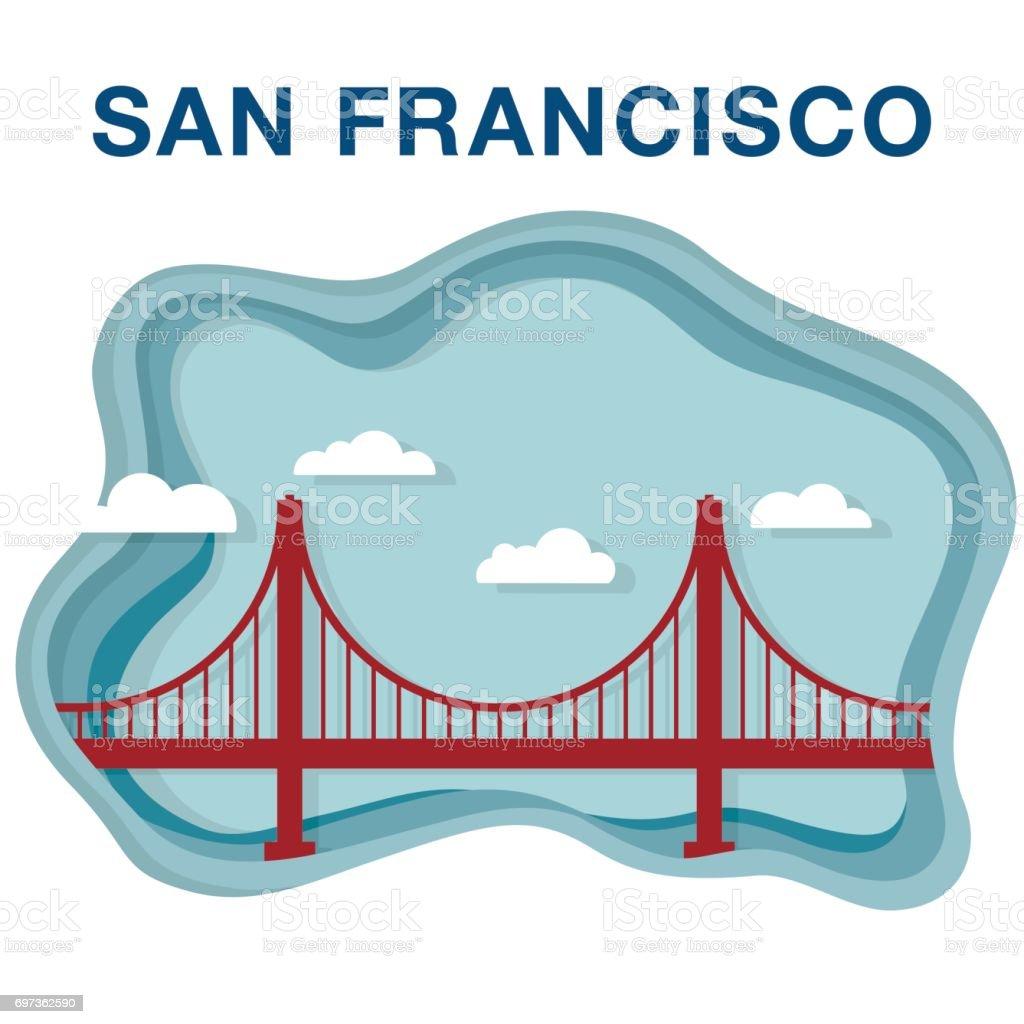 Golden gate illustration made in paper cut style. vector art illustration