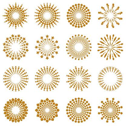 Golden Geometric Burst Rays Collection